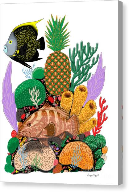 Coral Reefs Canvas Print - Pineapple Reef by Carey Chen
