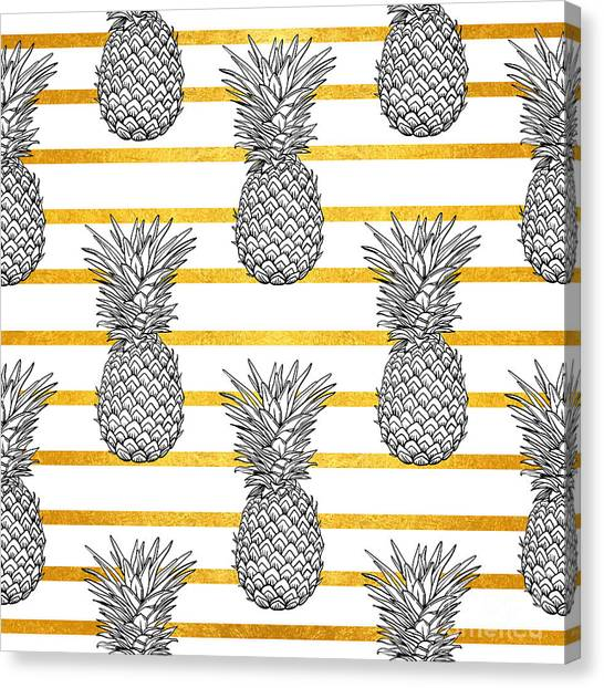 Tropical Plant Canvas Print - Pineapple Tropical Vector Seamless by Vavavka