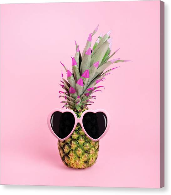 Pineapple Wearing Sunglasses Canvas Print by Juj Winn