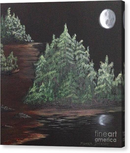 Pines With Moon Canvas Print