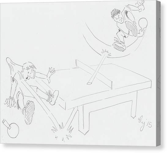 Ping Pong Cartoon Canvas Print