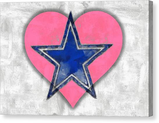 Dallas Stars Canvas Print - Pink And Blue by Carrie OBrien Sibley