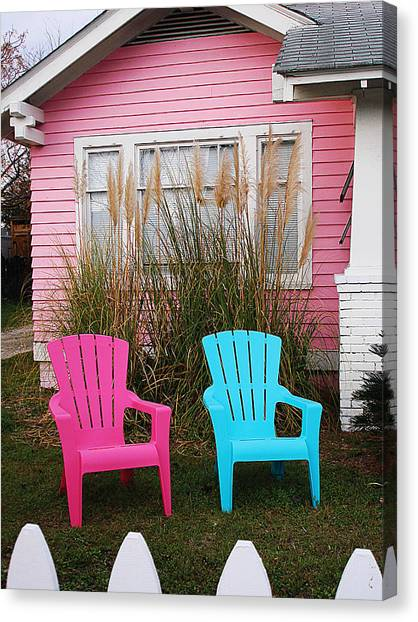 Pink And Blue Chairs By Jan Marvin Canvas Print