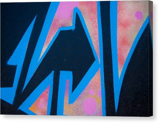 Abstraction Canvas Print - Pink And Blue Graffiti Arrow by Carol Leigh