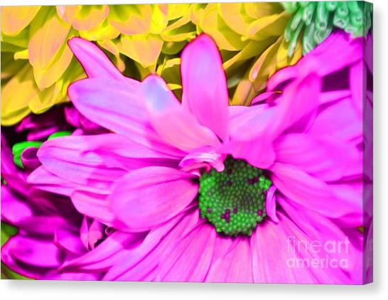 Pink And Green Flowers Canvas Print by LLaura Burge