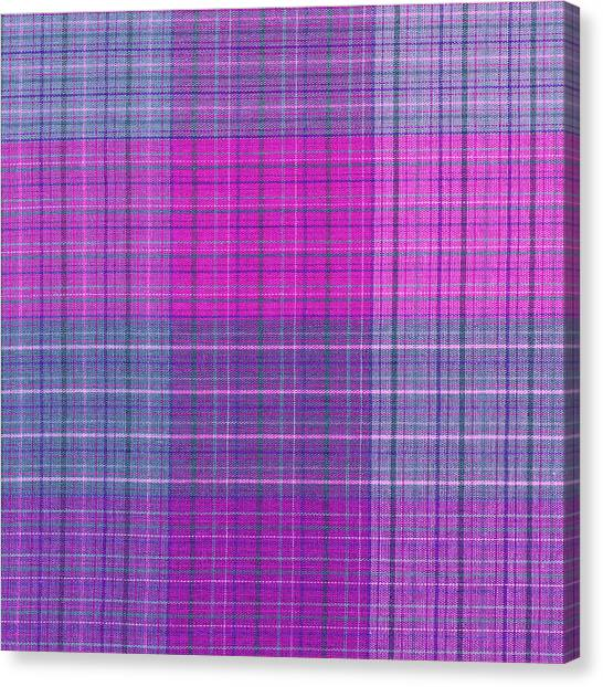 Checkered Tablecloth Canvas Print   Pink And Purple Plaid Textile  Background By Keith Webber Jr