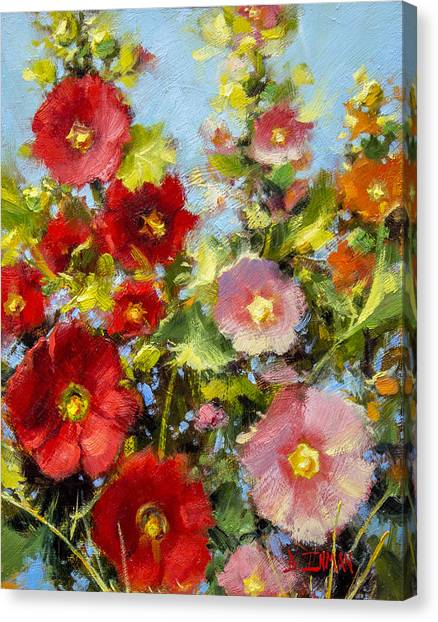 Pink And Red In The Flower Bed Canvas Print by Bill Inman