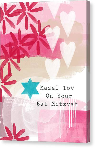 Bat Canvas Print - Pink And White Bat Mitzvah- Greeting Card by Linda Woods