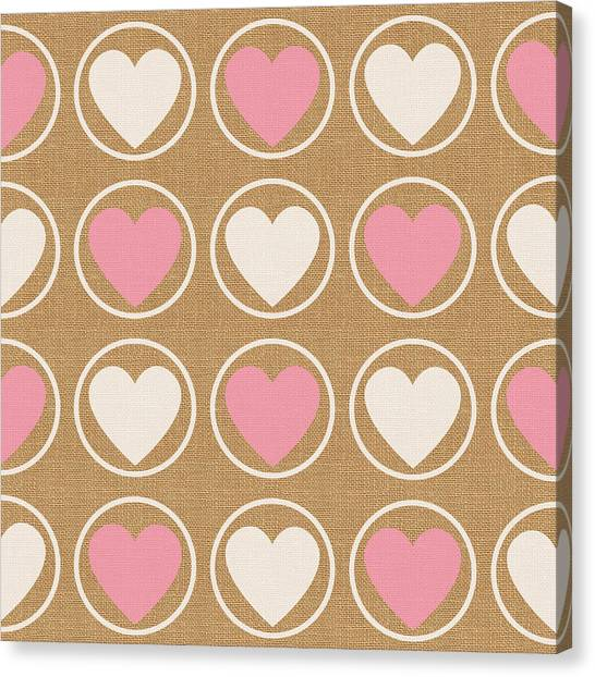 Hearts Canvas Print - Pink And White Hearts by Linda Woods