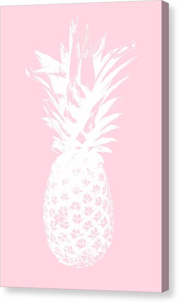 Pineapples Canvas Print - Pink And White Pineapple by Linda Woods
