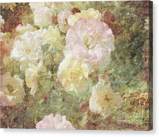 Pink And White Roses With Tapestry Look Canvas Print