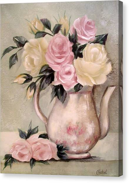 Pink And Yellow Roses In Teapot Painting Canvas Print