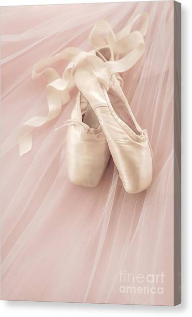 Ballet Shoes Canvas Print - Pink Ballet Shoes by Diane Diederich