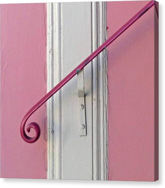 White Canvas Print - Pink Bannister by Julie Gebhardt