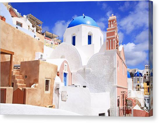 Pink Bell Tower And Blue Dome Church Canvas Print