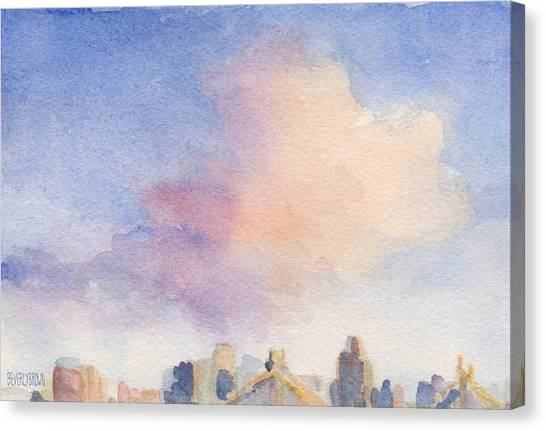 Abstract Skyline Canvas Print - Pink Cloud And 59th St Bridge Watercolor Painting Of Nyc by Beverly Brown Prints
