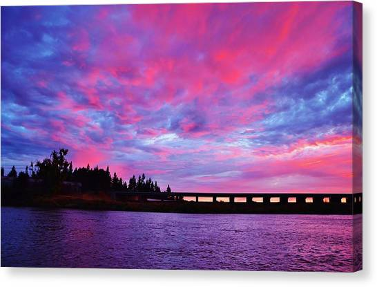 Pink Cloud Invasion Sunset Canvas Print