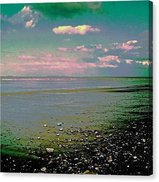 Floss Canvas Print - •pink Clouds/beach•  #pink #beach by Candy Floss Happy