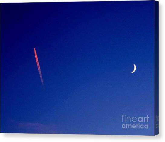 Pink Con Trail And Moon Canvas Print