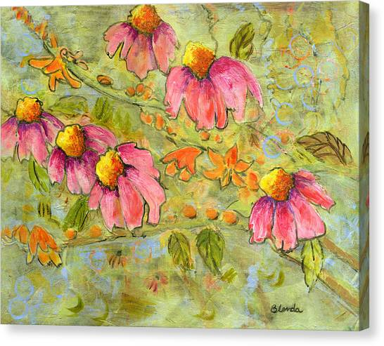 Pink Coneflowers For Marian Canvas Print by Blenda Studio