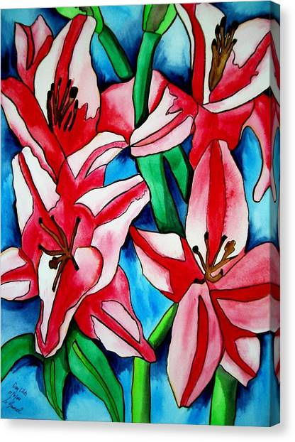 Pink Day Lilies Canvas Print by Sacha Grossel
