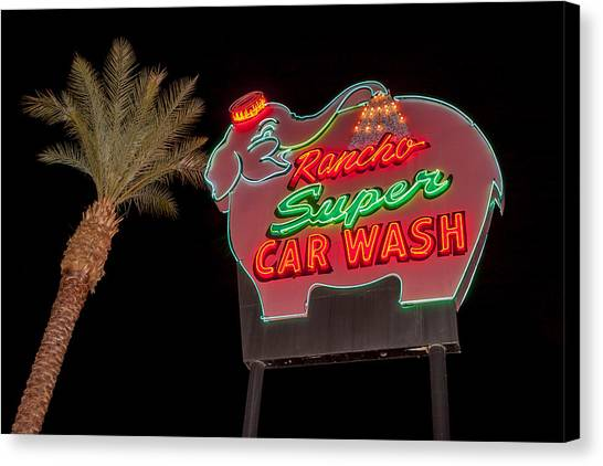 Pink Elephant Car Wash 36 X 24 Canvas Print