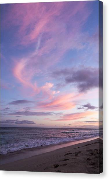 Palm Trees Sunsets Canvas Print - Pink Ewa Beach Sunset - Oahu Hawaii by Brian Harig