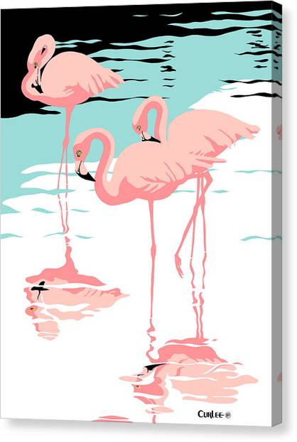 Florida Wildlife Canvas Print - Pink Flamingos Tropical 1980s Abstract Pop Art Nouveau Graphic Art Retro Stylized Florida Print by Walt Curlee