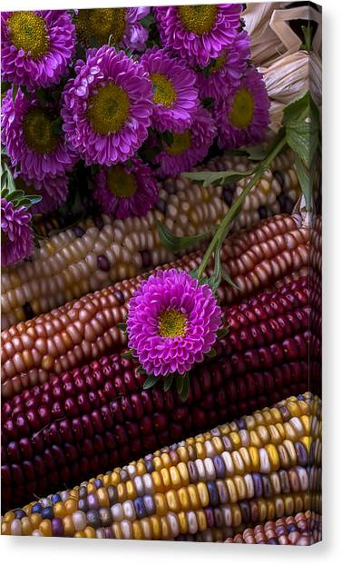 Indian Corn Canvas Print - Pink Flower And Corn by Garry Gay