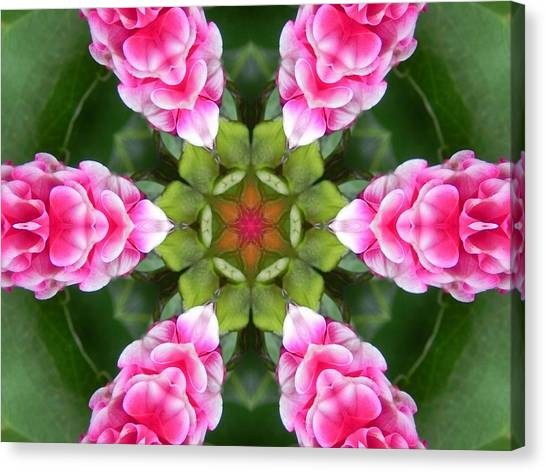Pink Flower Star Mandala Canvas Print