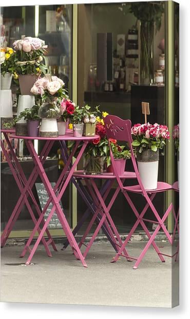 Pink Flower Table Paris Canvas Print