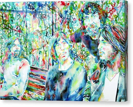 Pink Floyd Canvas Print - Pink Floyd At The Park Watercolor Portrait by Fabrizio Cassetta