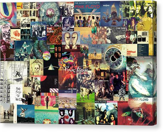 Music Canvas Print - Pink Floyd Collage II by Taylan Apukovska