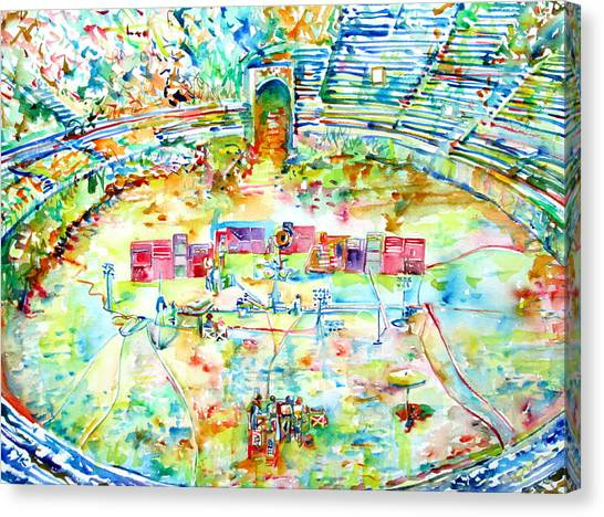 Pink Floyd Live At Pompeii Watercolor Painting Canvas Print