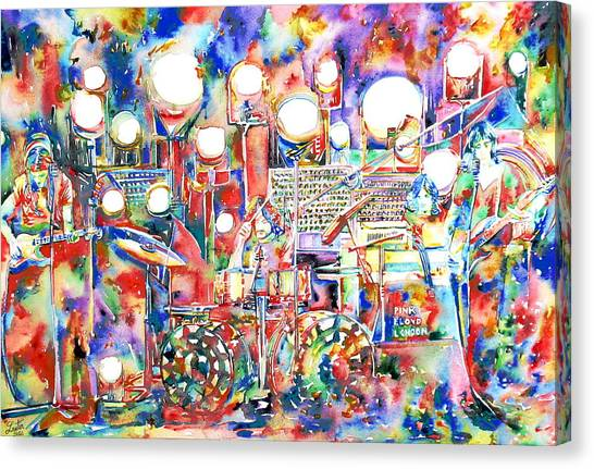 Microphones Canvas Print - Pink Floyd Live Concert Watercolor Painting.1 by Fabrizio Cassetta