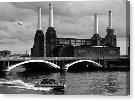 Balloons Canvas Print - Pink Floyd's Pig At Battersea by Dawn OConnor