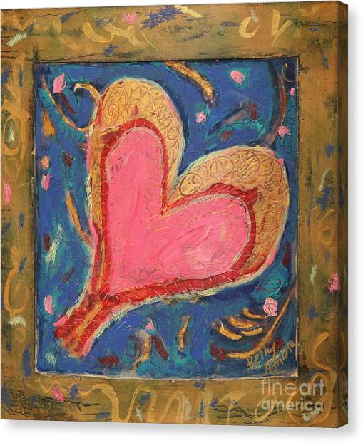 Pink Heart On Beveled Wood Canvas Print by Kelly Athena