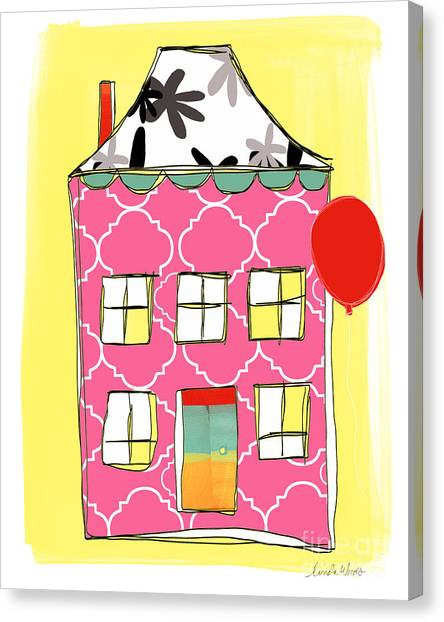 Houses Canvas Print - Pink House by Linda Woods