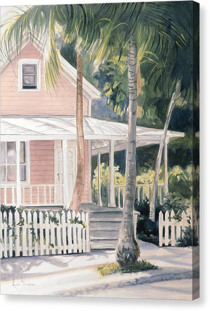 Florida House Canvas Print - Pink House by Lucie Bilodeau