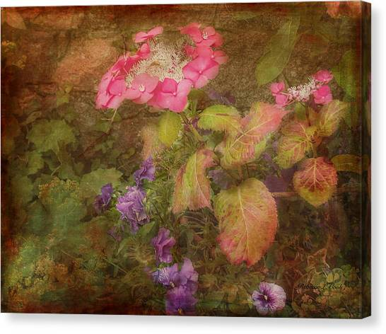 Pink Hydrangea And Purple Pansies Canvas Print