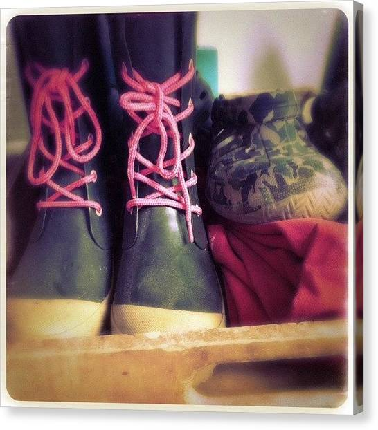 Green Camo Canvas Print - Pink Laces #rubber_boots #raingear by Sharon Wilkinson