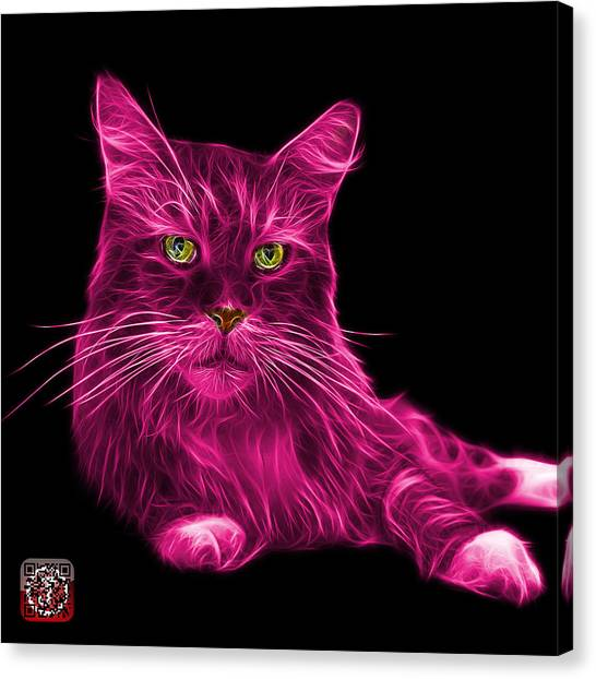 Canvas Print featuring the painting Pink Maine Coon Cat - 3926 - Bb by James Ahn