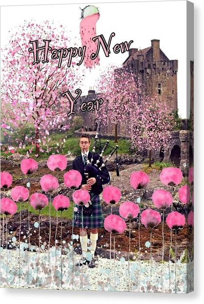 Scottish piper canvas prints page 2 of 2 fine art america scottish piper canvas print pink new year greeting by joan violet stretch m4hsunfo