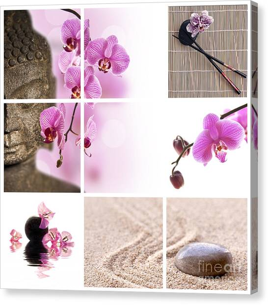 Philosophy Canvas Print - Pink Orchid And Buddha Collage by Delphimages Photo Creations