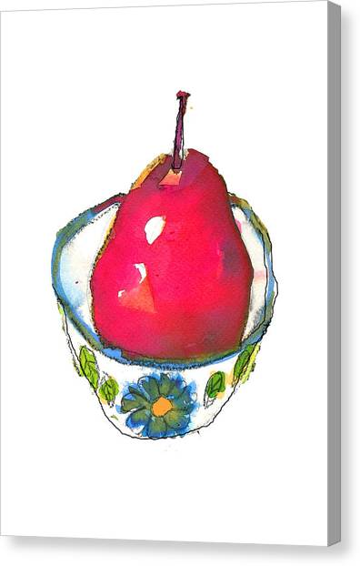 Pink Pear In Floral Bowl Canvas Print