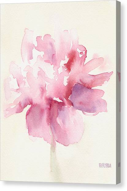 Brown Canvas Print - Pink Peony Watercolor Paintings Of Flowers by Beverly Brown