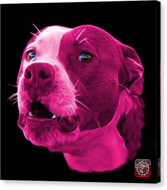 Canvas Print featuring the mixed media Pink Pitbull Dog 7769 - Bb - Fractal Dog Art by James Ahn