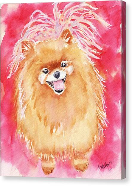 Pomeranian Canvas Print - Pink Pom by Greg and Linda Halom