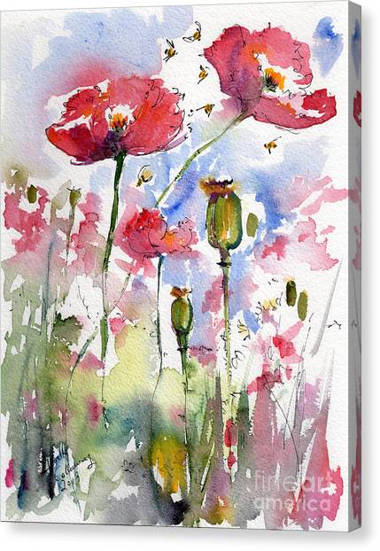Pink Poppies Pods And Bees Watercolor By Ginette Canvas Print