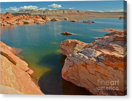 Pink Rocks Blue Water Canvas Print